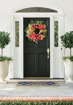 In an unreserved expression of cheer, bold rose and poppy blooms gather amid ball hydrangea and lemon leaf greenery. The lifelike foliage is exquisitely detailed and arranged to create an enduring accent with depth and dimension. Poppy Wreath, Lemon Leaves, Hydrangea, Cleaning Wipes, Greenery, Poppies, Planters, Bloom, Indoor