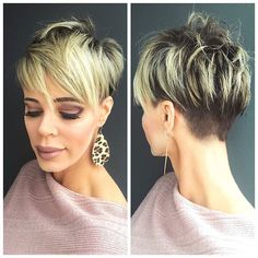 New Pixie Haircut Ideas for 2019 Pixie Blonde Higlighted Hair Stylish Short Haircuts, Short Pixie Haircuts, Layered Haircuts, Hairstyles Haircuts, Short Hair With Layers, Short Hair Cuts For Women, Asymmetrical Hairstyles, Blonde Pixie, Blonde Hair