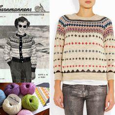 Billedresultat for garnmannen ne 175 Crochet Woman, Knit Crochet, Norwegian Knitting, Cute Sweaters, Fair Isle Sweaters, Fair Isle Knitting, How To Purl Knit, Vintage Knitting, Cotton Sweater