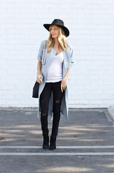ce571913d9d39 Fall trench, ripped black maternity jeans and and a wide rimmed fedora.