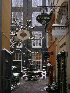quaint store fronts for cafe's Danish Christmas, Scandinavian Christmas, Winter Christmas, Christmas Time, Magical Christmas, Lovely Shop, Shop Fronts, Copenhagen Denmark, Shop Signs