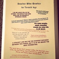 Dr Who quotes to teach by!