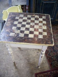 The Home Do The Job Bench - Your Own Home Base For All Do It Yourself Get The Job Done Assignments Rustic Checkerboard Table Painted Chairs, Painted Furniture, Diy Furniture, Checkerboard Table, Farmhouse Style Table, Farmhouse Plans, Kitchen Wallpaper, Primitive Crafts, Patio Table