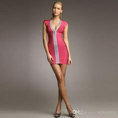 Women's Bodycon Bandage Dresses Sexy V Neck Low Casual Dresses | Buy Wholesale On Line Direct from China