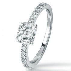 1.25 Carat Asscher Lower / Shape 14K White Gold Classic Facet Stone Prong Set Diamond Engagement Ring ( K-L Color , VVS2 Clarity )
