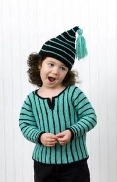 Free Knitting Pattern: Striped Pullover and Pixie Hat