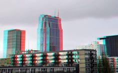 https://flic.kr/p/CRB4jb | View from Parking Bijenkorf Rotterdam 3D | anaglyph stereo red/cyan Parkeerdak Bijenkorf