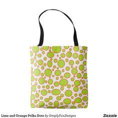 Lime and Orange Polka Dots Tote Bag