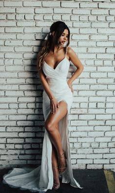 Sexy Slit Wedding Dress,Boho Bridal Dress,Informal Open Back Wedding Dress by Mi… - Wedding Hair Style Slit Wedding Dress, Pretty Wedding Dresses, Open Back Wedding Dress, Amazing Wedding Dress, Backless Wedding, Modest Wedding, Sexy Reception Dress, Dress Lace, Cheap Bridal Dresses