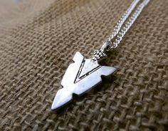 Silver Tone Arrow Head Necklace - Arrowhead Jewelry - Archery Sports Necklace - Nature Outdoors - Bow And Arrow - Country Southern Jewelry