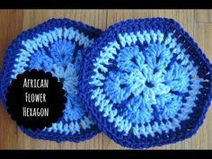 African Flower tiles for crocheted animals - YouTube Tutorial