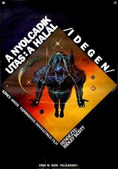 Alien original vintage movie poster sci-fi horror 1980 first release Hungarian Alien 1979, Star Wars Jedi, Aliens, Harry Dean Stanton, Poster Boys, Foreign Movies, Hr Giger, Sigourney Weaver, Sci Fi Horror