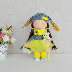 Annie Doll Handmade Doll Fabric Doll Rag by NICEDOLLSANDRABBITS
