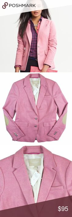 """New BANANA REPUBLIC Elbow Patch Hacking Jacket This new pink wool herringbone hacking jacket from Banana Republic features button closures and front pockets. Fully lined. Light tan elbow patches. Made of a wool blend. Measures: bust: 38"""", total length: 25"""", sleeves: 25"""" Banana Republic Jackets & Coats Blazers"""