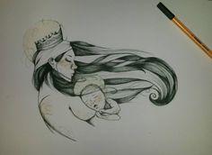 my draw - reinterpretazione Madonna con Bambino, ispirato ad un'illustrazione di Paula Bonet