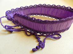 Headband with Ties and Purple Crocheted Trim by Cozy, $6.50 USD https://www.zibbet.com/cozy/headband-with-ties-and-purple-crocheted-trim