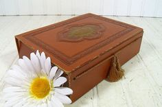 Vintage Brown Tooled Leather Look Stationery Box by DivineOrders, $13.00