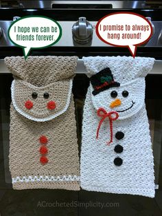 Snowman Kitchen Towel - Free Crochet Towel Pattern - A Crocheted Simplicity - Snowman Kitchen Towel – Free Crochet Towel Pattern – A Crocheted Simplicity Free Crochet Patterns – Gingerbread Man & Snowman Kitchen Towels by A Crocheted Simplicity Crochet Eyes, Free Crochet, Knit Crochet, Crochet Angels, Chrochet, Crochet Shawl, Crochet Towel Topper, Crochet Hooks, Crochet Towel Holders