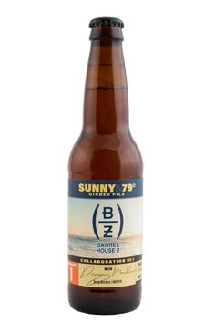 """Sunny & 79° Ginned Pils - """"This  collab pairs traditional Bavarian pilsner style with a handful of summer's most memorable flavors. Pilsner and Munich malt. Hallertau & Mandarina Bavaria hops. Dry spiced with juniper berry, lemon peel, coriander, cardamom."""" Barrel House Z, Weymouth MA (12oz 6.2%) Jan 2018"""