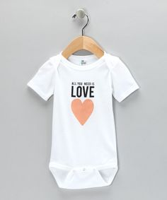 Take a look at this White 'Love' Bodysuit by HEN & CO. on #zulily today!