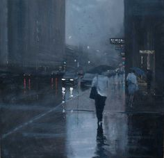 Rain painting by Mike Barr  Waymouth Street, Adelaide