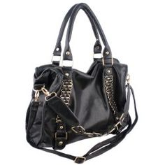 EIDER Black Large Leatherette Gold Chain Decor Sturdy Office Tote Bag Satchel Handbag Purse by MyGift