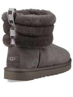 """UGGQuilted Ankle Boot Size & Fit Standard fit Available in UK sizes 3-8 Shaft height: 5.5"""" Details Fluff Mini Quilted Ankle Bootfrom UGG® Charcoal Plush sheepskin lining Lightweight, flexible sole for all-day wear Pull-on tab Sheepskin lining Sheepskin insole Treadlite by UGG™ outsole Nylon binding Materials Ugg Boots Outfit, Ugg Style Boots, Shearling Boots, Leather Boots, Cute Uggs, Furry Boots, Vegan Boots, Sheepskin Boots, Comfortable Boots"""