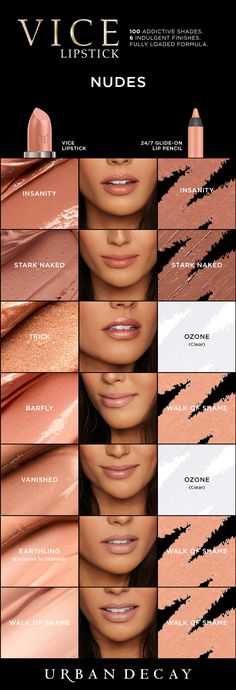 Turn up that nude attitude with these shades of Vice Lipstick. - Turn up that nude attitude with these shades of Vice Lipstick. Nude Lipstick, Lipstick Colors, Lip Colors, Wet N Wild Lipstick, Bright Lipstick, Brown Lipstick, Love Makeup, Makeup Inspo, Makeup Looks