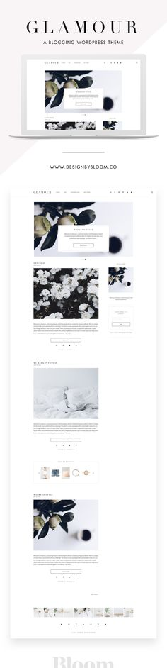 Glamour is a classic yet modern theme. Add visual interest with a minimal slider paired with timeless fonts while keeping your social media links up front and center. A Genesis child WordPress theme by Design by Bloom.