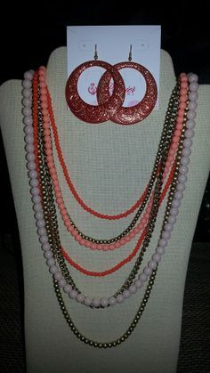 """""""Papaya"""" 28 inch necklace, seven strand necklace with """"Casablance"""" earrings!"""