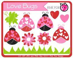 INSTANT DOWNLOAD - valentines day love bug clipart - love graphic - ladybug image - digital element - photoshop - scrapbook design.