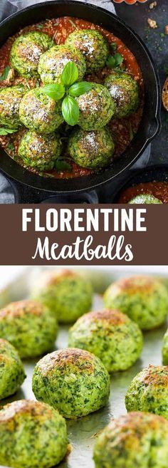 Chicken Florentine Meatballs - Tender pieces of white meat combined with fresh spinach for a healthy Italian meal full of flavor. via @foodiegavin