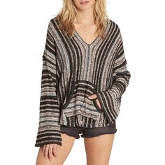 Women's Billabong Baja Beach Hoodie ($65) ❤ liked on Polyvore featuring tops, hoodies, off black, beach poncho, hooded pullover, beach hoodies, beach hoodie and sleeved poncho