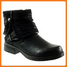Angkorly - damen Schuhe Stiefeletten - Biker - Reitstiefel - Kavalier - Classic - Multi-Zaum - Schleife - Geflochten Blockabsatz 3 CM - Schwarz F2113 T 37 (*Partner Link)