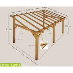 Structure d'Auvent SHERWOOD 5mx3 ou carport adossé