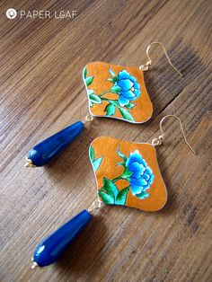 Paper earrings Blue Peony | Artistic & hand made | hand painted paper earrings
