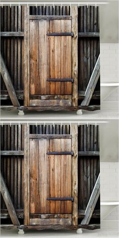 $13.79 Wood Door Print Retro Bathroom Shower Curtain