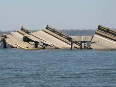 Biloxi/Ocean Springs Bridge after Hurricane Katrina. 2005.