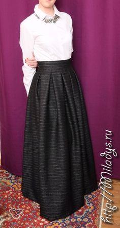 длинная юбка в складку, черная юбка в пол в полоску, юбка с широким поясом и встречными складками, сшить юбку