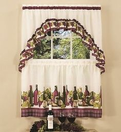 "Wine and Grapes Window Curtain Set Kitchen Swag + 24"" Tiers, bottles wine decor"