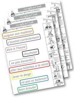 les règles de l'école : travail et jeux autour de ces règles Classroom Management Tips, Class Management, Classroom Organisation, Teacher Organization, School Life, Back To School, Classroom Language, Teaching French, Classroom Activities