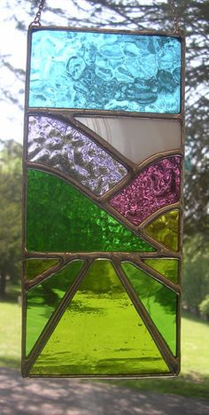 Spring Crop Fields! Rural Stained Art Glass Suncatcher Panel - pewtermoonsilver