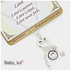 """Heart Cupid Arrow Charms Necklace Antique silvertoned Love heart disc -paved Cupid's bow & arrow necklace - 18"""" + 3"""" Long Boutique Jewelry Necklaces"""