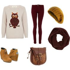 Owl sweatshirt, burgundy jeans, brown scarf and purse, and mustard yellow shoes and hat. I don't know theses prices but I would like this outfit just multiplied Dover and over again with just different designs.