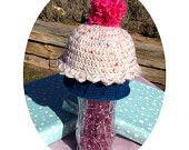 Crocheted Cupcake Beanie Hat