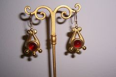 Vintage, Jeweled Etruscan Style Nugget  Dangle, Pierced Earrings, Signed,18K Gold Plated, Semi Precious Stones