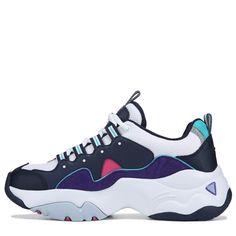 Skechers Women s D Lites 3 Sneakers (White Navy Purple) Skechers D Lites 38974afec