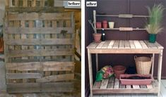 Turn pallets into potting bench