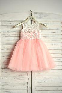 Blush Rose Flower Girl Dress Dentelle Tulle Tutu Enfants Pageant Dress Robes de fête courtes