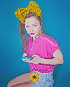 sweetpaintedsere #pop #art #selfportrait #colorful #gameboy #gameboycolor #90s #hairstyle #lolita #lolitagirl #sunflower #spring #psichedelic #makeup #nintendo #tiedye #fashion #shooting #model #doll #summer #style #pokemon #yellow #kiko #kikomakeup #kikolipstick